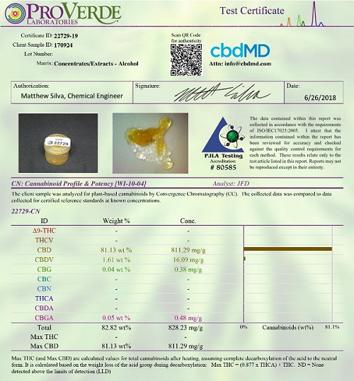 cbdMD lab certificate